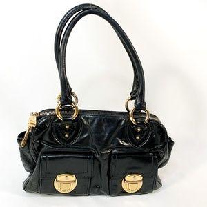MARC JACOBS Black/Gold Buckle Leather Handbag